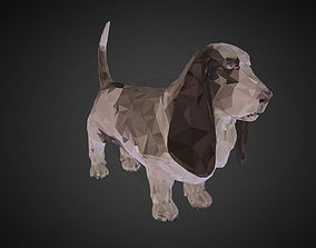 Dog Basset Hound Low Polygon Art Farm low-poly