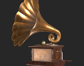 Old Antique Gramaphone PBR 3D model