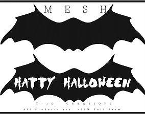 Bat Halloween Sign 3D asset