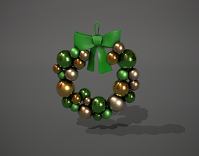 3D model Green and Gold Christmas Bauble Wreath