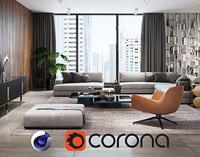 3D model Apartment Scene for Cinema 4D and Corona Renderer