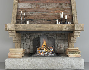 Fireplace and decor 3D