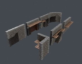 Modular Package stone wall Low Poly 3D asset