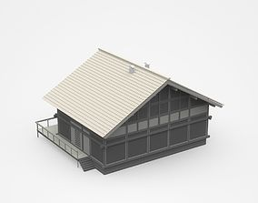 Dark Two-storey House With Long Veranda And Balcony 3D