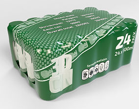 24 pack 500ml plastic shrinkwrapped beverage 3D