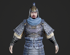 3D model Ancient Chinese soldiers in armor warrior 2