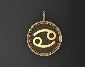 Zodiac Sign Pendant cancer 3D print model