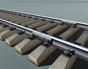 3D model Railway track concrete sleepers