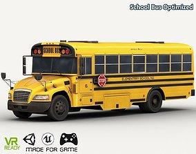 School Bus Optimized 3D asset realtime