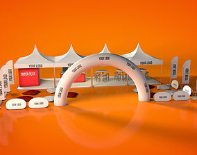 Fast Render Outdoor Event Tent Stand 3D model low-poly