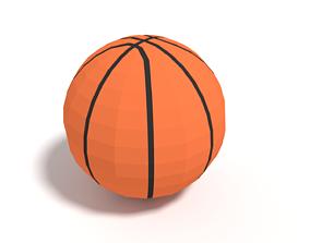 3D asset Low Poly Cartoon Basketball Ball