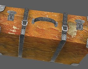 3D asset Suitcase leather shabby vintage Lowpoly
