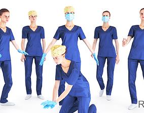 Rigged animated medical nurse 14 3D model