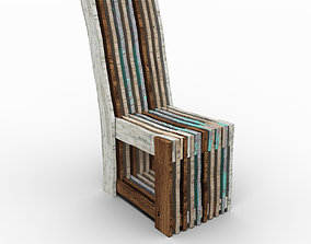 3D model Chair recycled aged wood