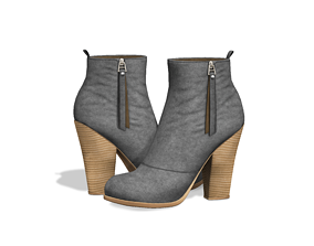 3D asset Suede Ankle Mid Heel Boots