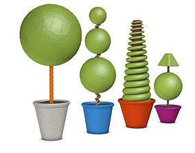 3D asset Topiary in Colorful Vases