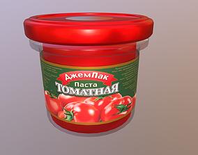 jar 3D model Jar of tomato paste game-ready