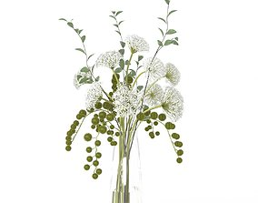 Diane James White Allium And Beech Branches in Tall 3D 1