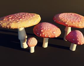 3D model mushroom pack - fly agaric