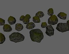 stone lowPoly rocks 3D model