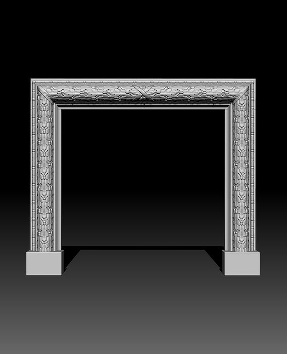 Oak Leaves Fireplace Mantel 3D model
