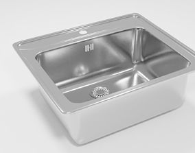 3D model Square kitchen sink
