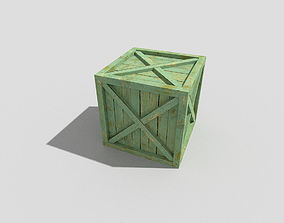 low poly wooden crate 3D asset VR / AR ready