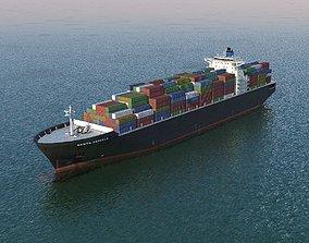 liner Cargo Ship 3D asset low-poly