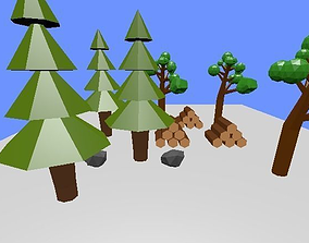 3D print model low poly forest