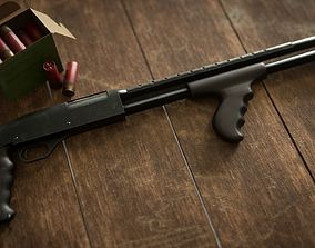 low-poly 3D Mossberg 500 tactical with frontal pistol grip