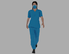 Rigged Nurse character 1 3D model
