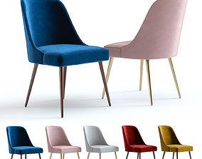 3D West Elm Mid-Century Chair Velvet