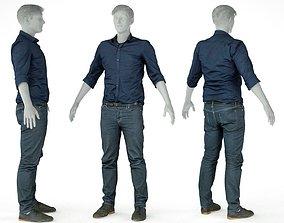 3D asset Male Casual Outfit 16 Shirt Pants Shoes