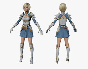 3D asset rigged Warrior Girl