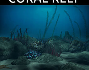 Coral reef low poly 3D model