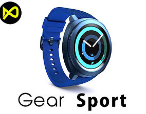 3D model Samsung Gear Sport Smartwatch Blue