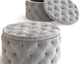 3D kare Seating Chest Desire Round Velvet Silver