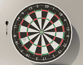 Throwing Dart and Bullseye 3D asset