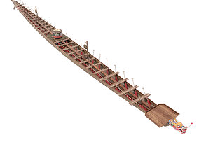 3D Chinese traditional wooden dragon boat