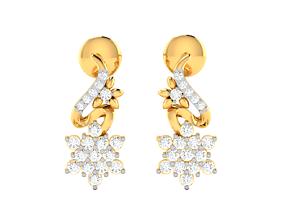 Women earrings 3dm render detail silver drops