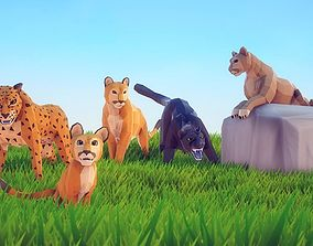 3D asset Poly Art Cougar Panther and Mountain Lion
