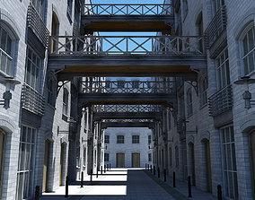 3D Building Alleyway Textured