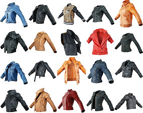 3D asset 20 Jackets Leather and Jeans for Women Collection