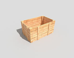 3D asset low-poly low poly wooden crate