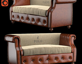3D asset sofa POLO BROWN LEATHER