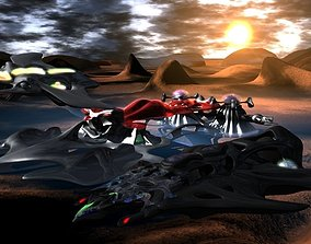 3D Alien lifeforms in outer space