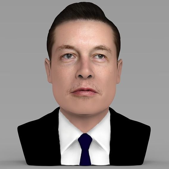 Elon Musk bust for full color 3D printing