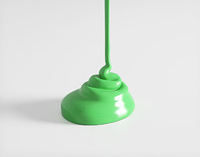 3D Flowing Paint Green