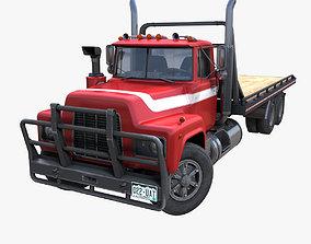 3D asset Industrial vintage flatbed truck