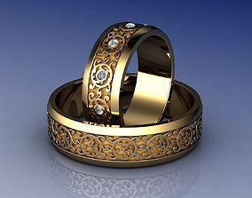 3D print model Knot Wedding Rings with Diamond